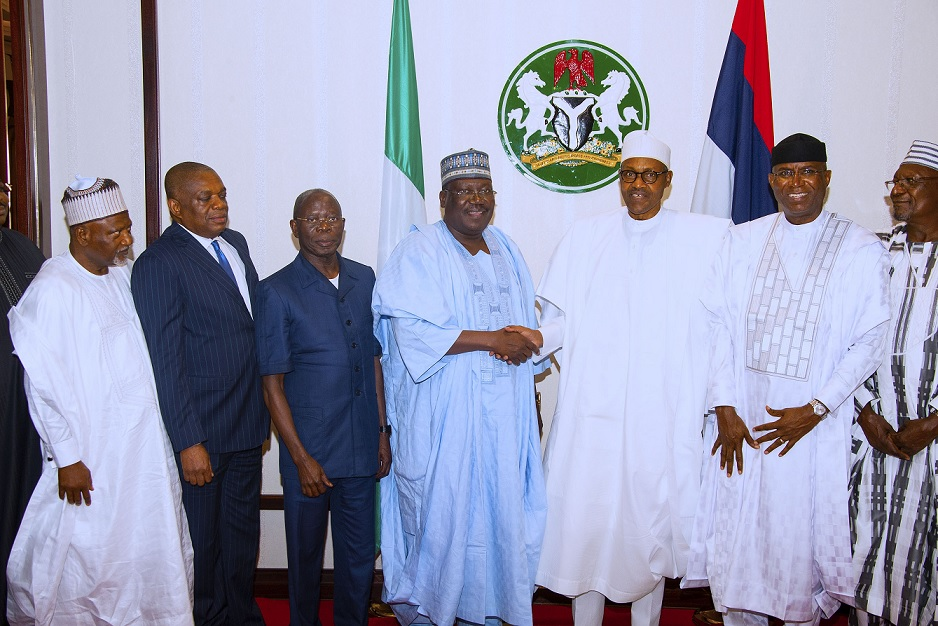 President Muhammadu Buhari flanked by the President of the Senate, Ahmed Lawan, Deputy President of the Senate, Ovie Omo-Agege. Other are APC National Chairman, Adams Oshiomhole, Senate Leader, Senator Abdullahi Yahaya, Chief Whip, Senator Orji Uzor Kalu and Deputy Minority Whip Sahabi Yau during a dinner for the Principal officer of the National Assembly held at the State House Thursday Night. PHOTO; SUNDAY AGHAEZE. JULY 11 2019
